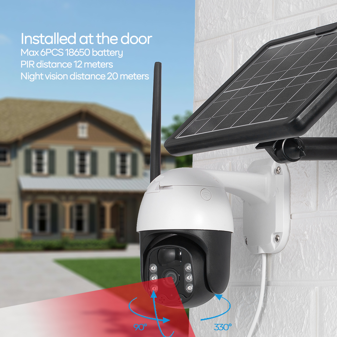 Outdoor Wireless WiFi Pan Tilt  View Spotlight Rechargeable Solar Battery Powered Home Security 4G Camera