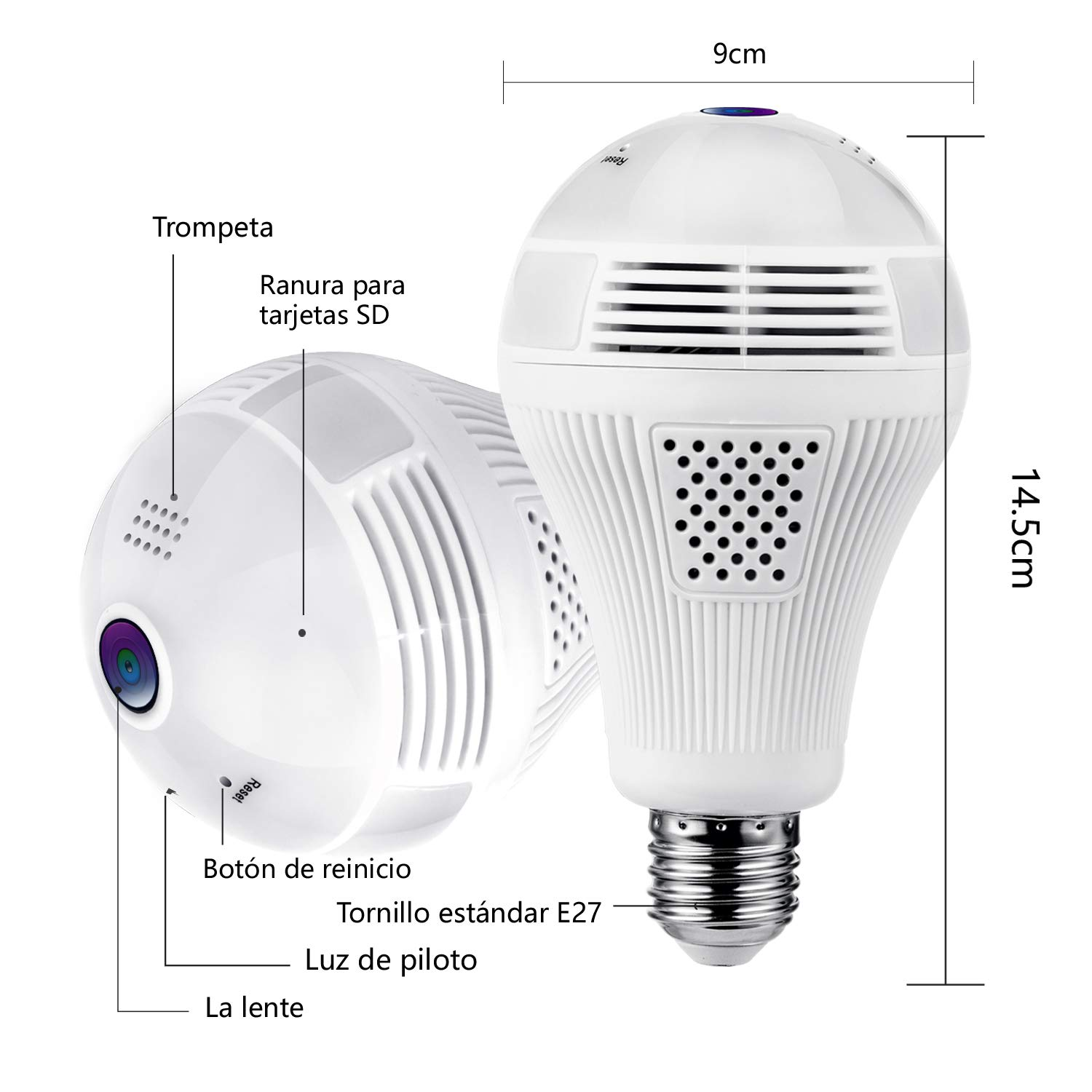 1080P WiFi bulb camera with 360 degree Fisheye lens Panoramic camera  support  2-way audio and PC / iOS / Android