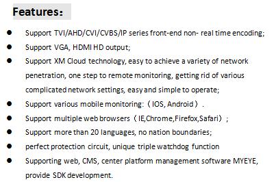 8CH 2MP TVI CVI AHD IP CVBS DVR HD  5 in 1  cctv security dvr with xmeye app
