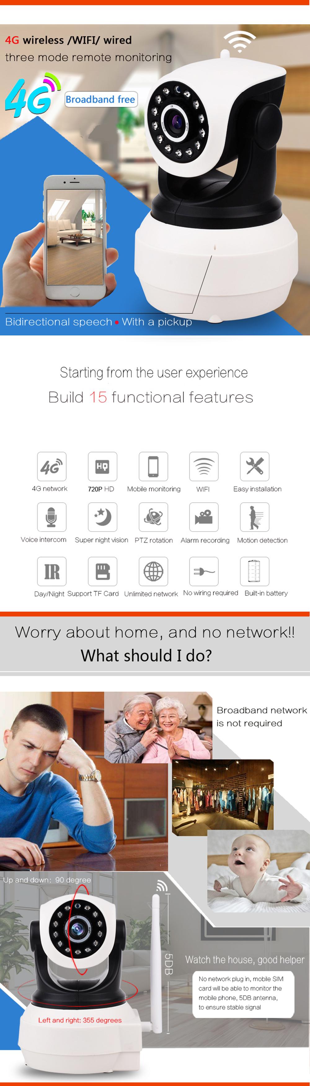 Wifi Camera 4G 3G Sim Card 1080P HD Network Video Wireless IP Camera GSM Security Baby Surveillance  APP Control Baby Monitor