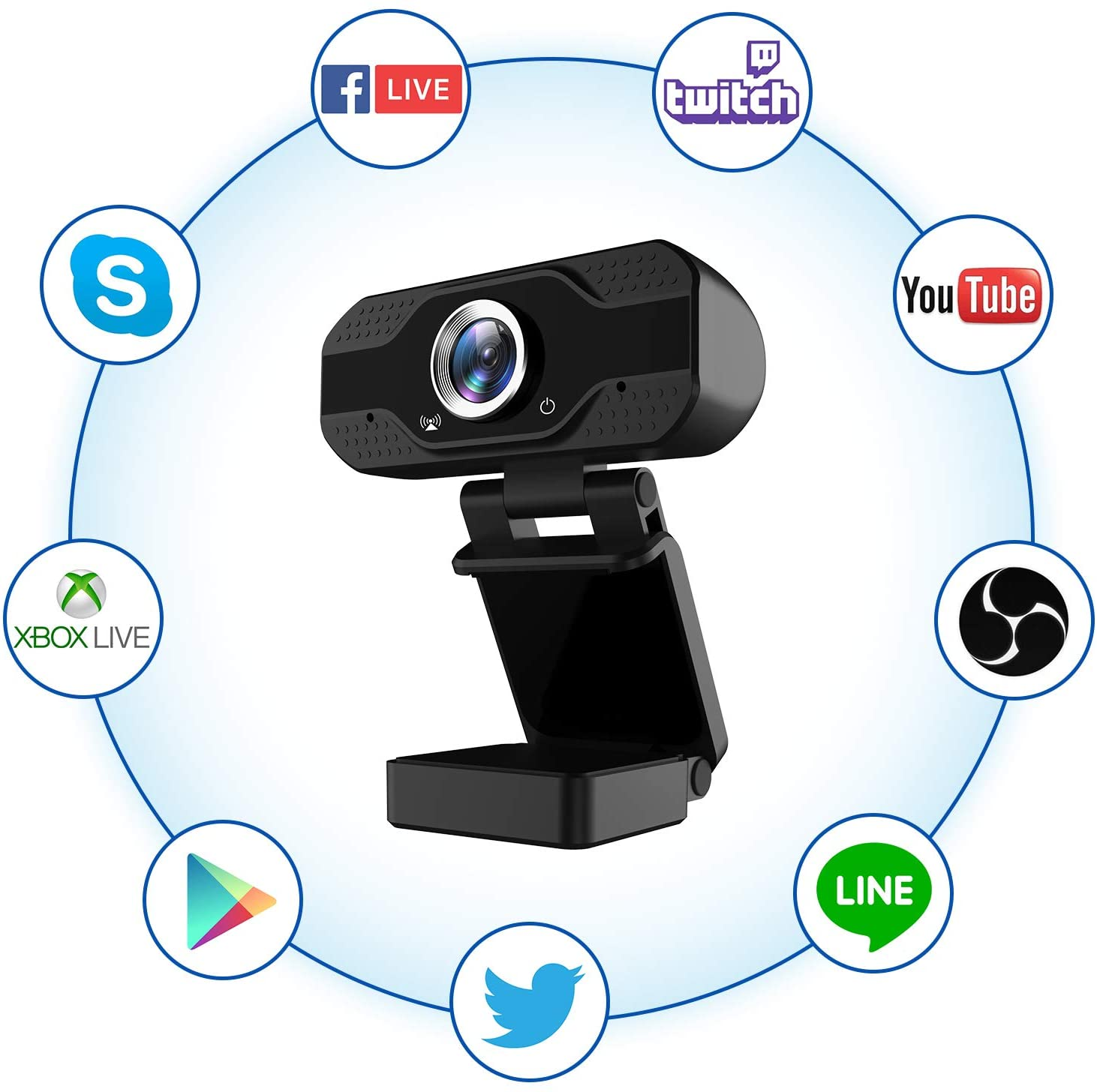 1080P Full HD Webcam with Microphone, USB Web Camera Streaming Computer Camera for Windows Mac PC,120 Degrees Wide-Angle 30fps